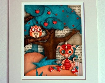 Dragon Nursery Baby Owl Art Print Wall Decor for Boys or Girls 8 x 10 Matted, Ready for Frame