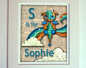 Dragon Personalized Name Nursery Art Print Rainbow Recycled Paper 11 x 14 inches matted