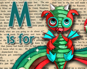 Baby Dragon Nursery Art Personalized Name Print  Boys Gift Recycled Paper  11 x 14 inches