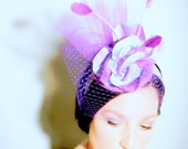 Lavender Coque Feather and French Veiling Facinator