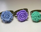Flower Resin Ring With Antique Bronze ring - 3 pair