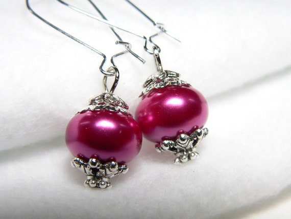 Raspberry Pink Glass Pearls and Silver Tone dangle Bridal Earrings