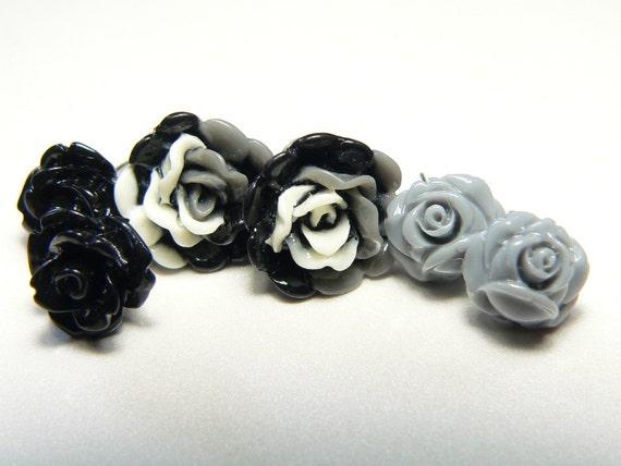 Flower Post Stud Garden Earrings-Black Rose-3 pair sets