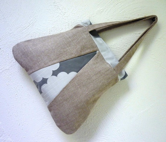 Clouds Handbag Pewter - in luscious linen grey white storm rain