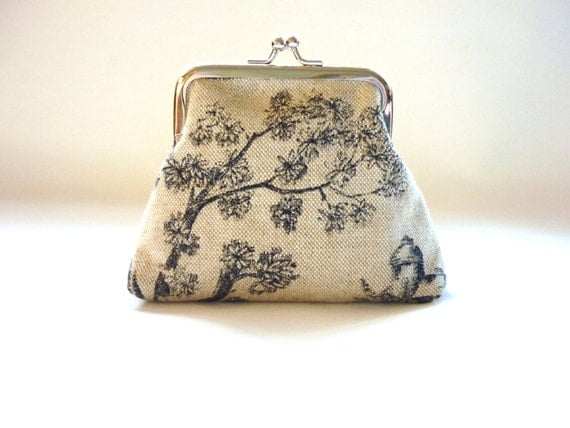 Toile Linen Small Purse Vintage Liberty of London lining kisslock frame