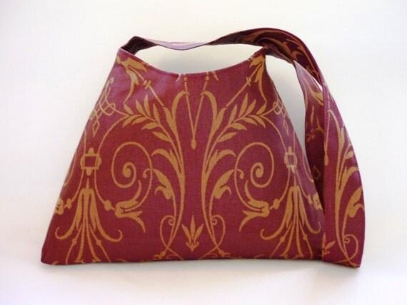 Burgundy baroque gold scroll handbag RESERVED FOR TRACY rich oxblood maroon claret red wine chestnut renaissance mulberry aubergine