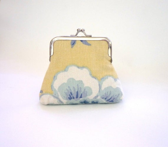 Lemon and china blue floral small purse vintage Laura Ashley lining kisslock frame