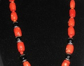 "Orange  Coral Necklace , 18""L"