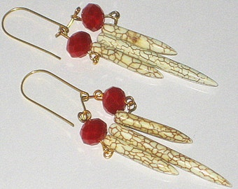 """Golden Tone Wire Howlite and Red Crystal Long Earrings, 3""""L"""