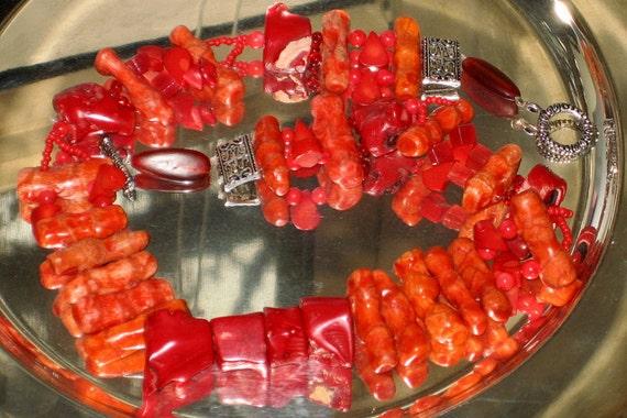 "Unique / Huge / Bold/ Statement Rustic Red and Orange Sticks Coral Necklace, 20""L"