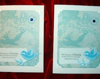Blue Birds Friendship Card Set Blank Inside