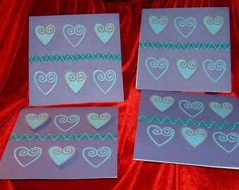 Purple Hearts Card Set Blank Inside
