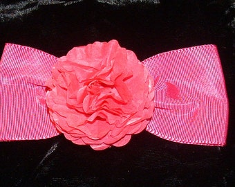 Pink Bow Barrette With Handmade Flower