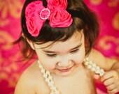 Hot pink shabby chic rosettes headband