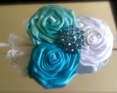 "Headband or Hair Clip - ""Something Blue"" - The Laila rosette headband collection"