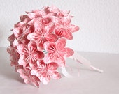 Wedding Origami Paper Flower Bouquet - pink and white