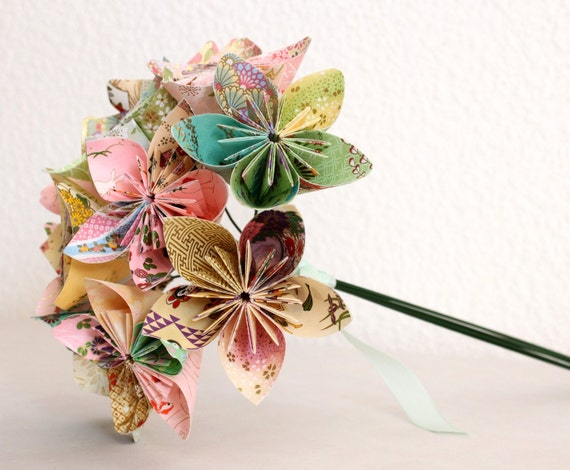 Origami Paper Flower Bouquet - pink green and yellow