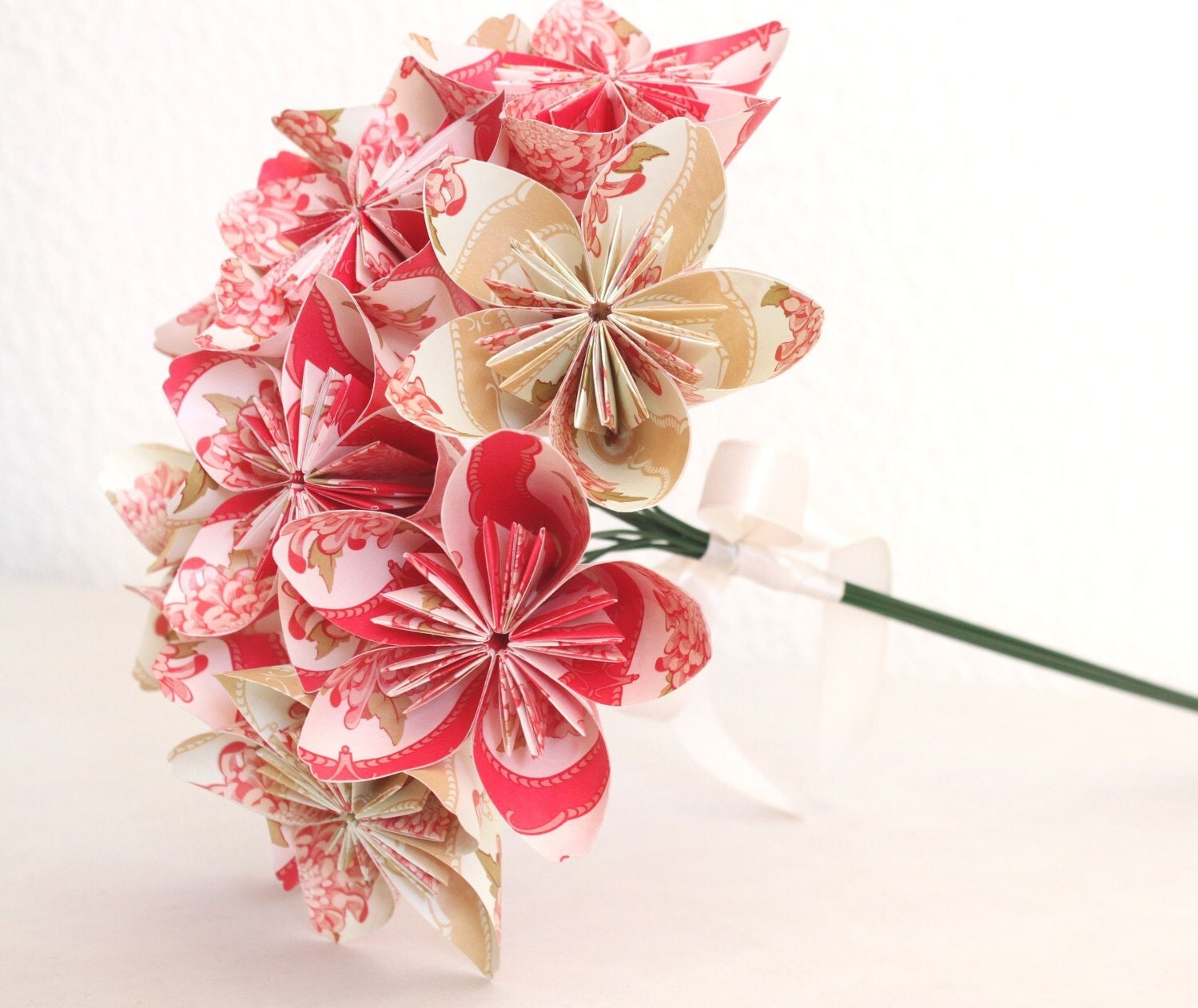 Origami Paper Flower Bouquet pink and beige