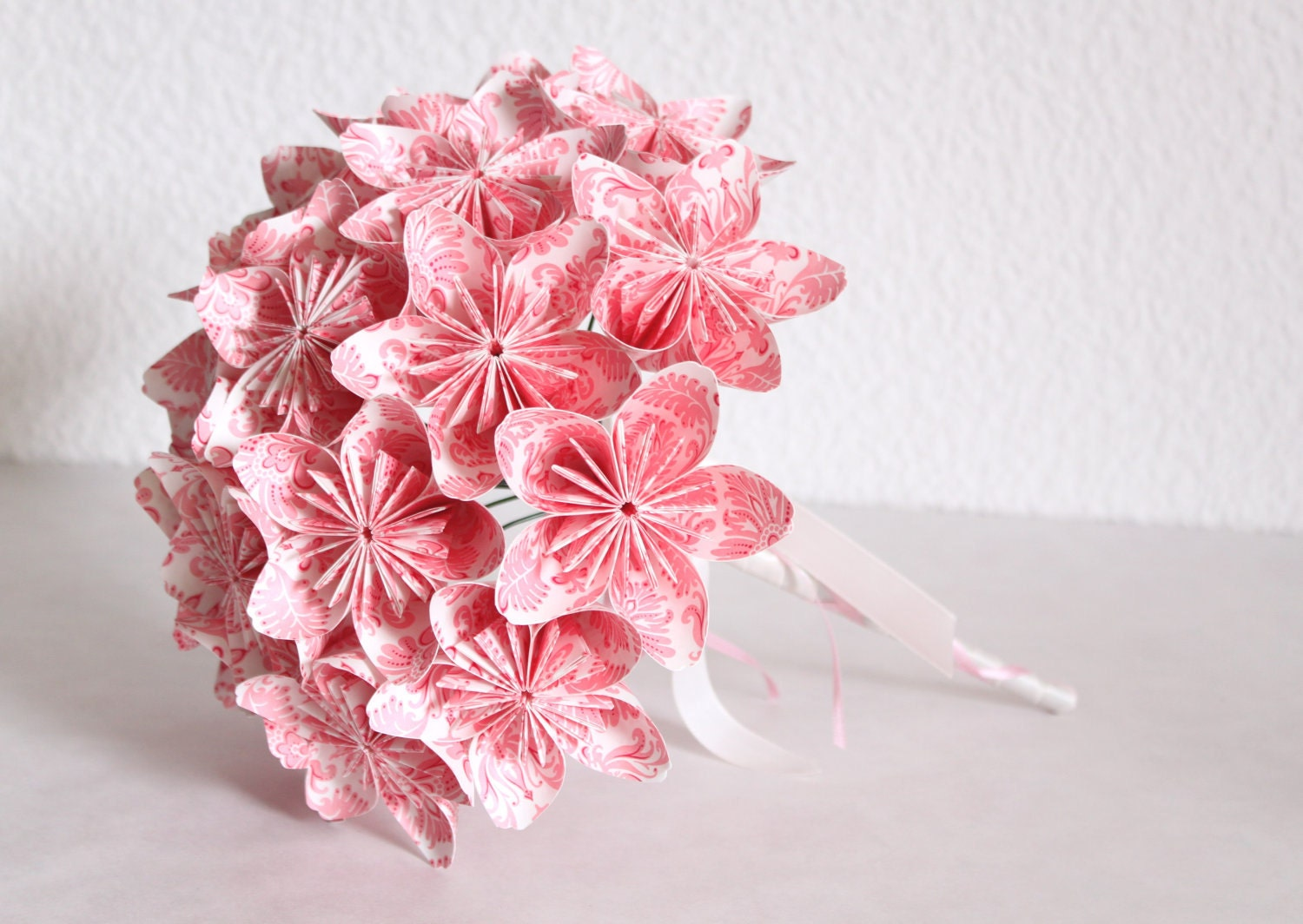 Wedding Origami Paper Flower Bouquet pink and white