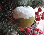 Christmas Holiday Decoration Vintage Upcycled Snow Apple Hand Painted