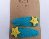 Teal Felt Hairclips with Bright Yellow Stars