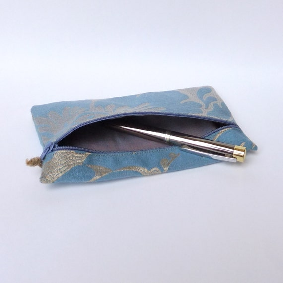 Blue and Gold Textured Pencil Case