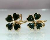Vintage Irish earrings Clover Leaf green enamel pearl