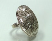 Vintage Egyptian Revival sterling silver ring