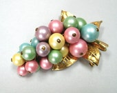 RESERVED for Marcy- Vintage PASTEL pearl GRAPE pin brooch Summer colors