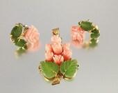Carved Coral Jade Rose pendant earrings set Swoboda