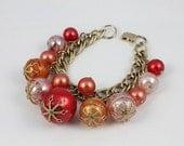 Vintage Charm bracelet Chunky Soap Bubble  Red Orange Pink 1950s