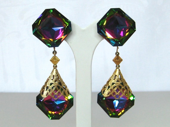 RESERVED for AR- Peacock Watermelon earrings Swarovski crystal chandelier