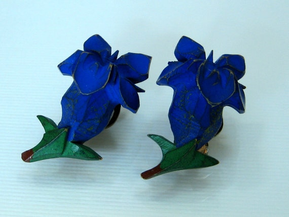Reserved for Kimmie- Do Not purchase- Vintage Blue Iris earrings carved plastic clip on