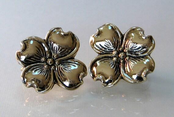 Judy Lee earrings vintage DOGWOOD flower clip gold tone