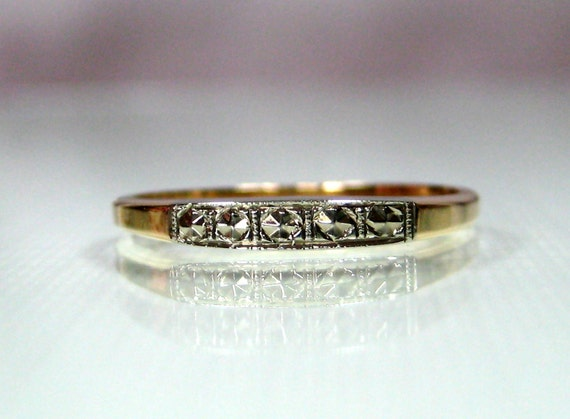 Wedding Band 14K white yellow gold