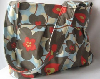 Emma Diaper Bag Medium Cross Body in Morning Glory  READY to SHIP Messenger Bag with Elastic Pockets