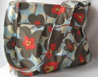 READY to SHIP Emma Diaper Bag Medium Cross Body in Morning Glory  Custom Messenger Bag with Elastic Pockets