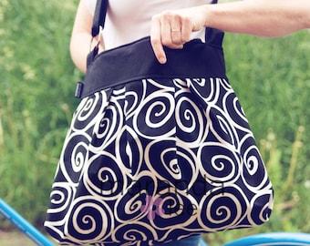Emma Large Diaper Bag - Black White Ironworks - Custom Lining- Baby Diaper bagAdjustable Strap Elastic Pockets
