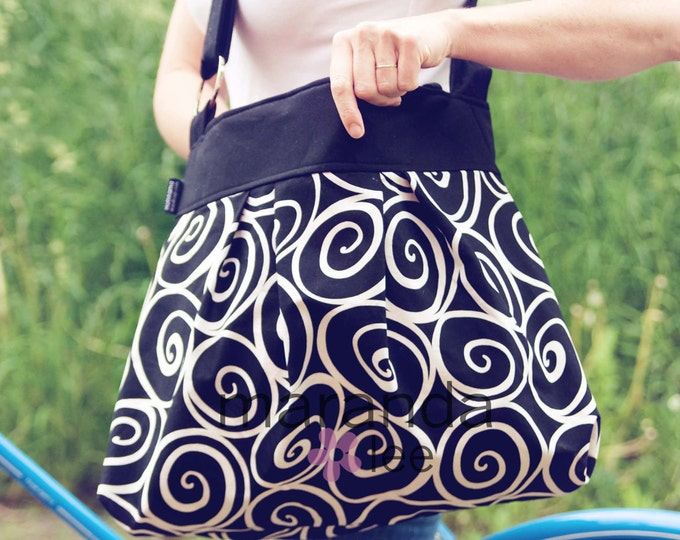 Emma Large Diaper Bag - Black White Ironworks - Custom Lining- Baby Diaper bagAdjustable Strap Elastic Pockets