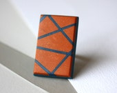 Tangerine and petrol blue ring - geometric, stripes, statement ring