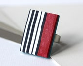 Marine ring with red, white and blue stripes, navy, nautical statement ring
