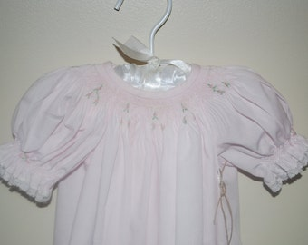 Smocked NB Day Gown Lace Trims