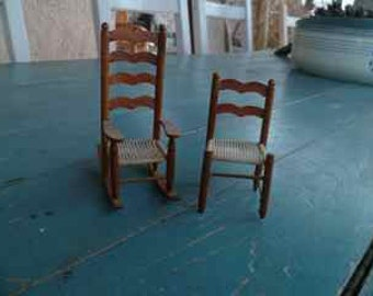 set of 2 vintage dollhouse chairs