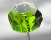 Large Vintage Green Glass Hat Pin, 20s