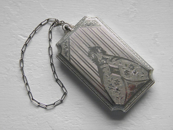 Vintage Art Deco Silver Dance Coin Compact Purse 20s
