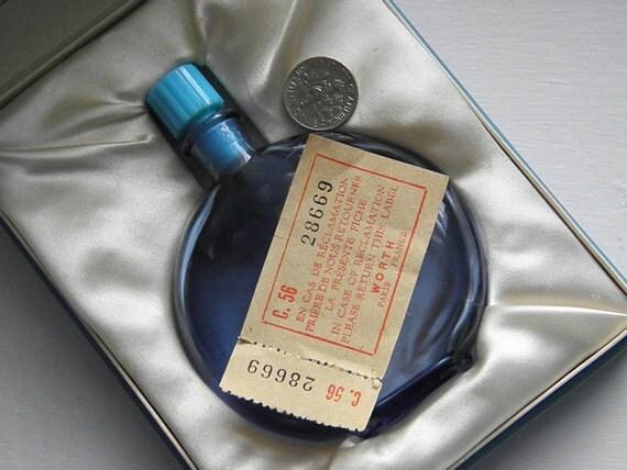 Vintage 50s Lalique Worth Perfume Bottle, Paris, Case