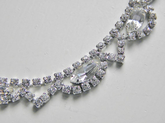 Vintage Clear Rhinestone Choker, Necklace, Continental