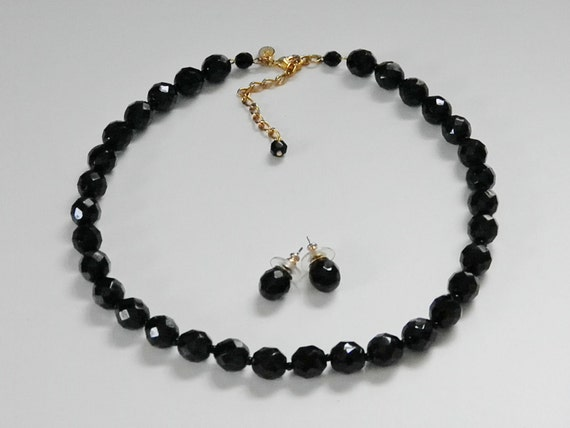 Vintage Czech Black Glass Bead Choker & Earrings, KJL Kenneth Jay Lane