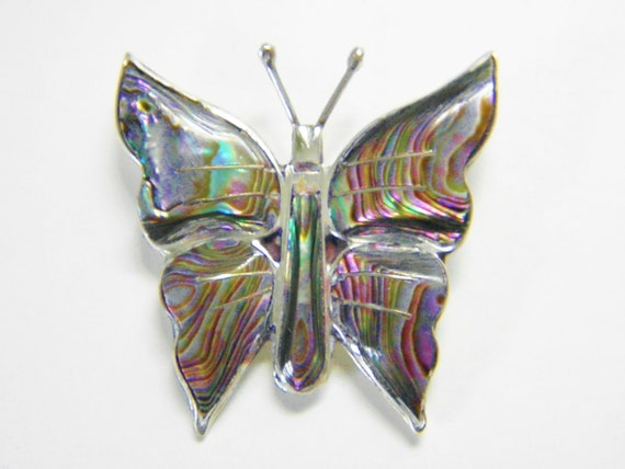 Vintage Sterling Abalone Taxco Butterfly Brooch