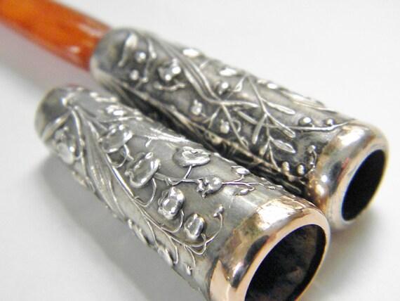 ReSeRVeD for JL  Art Nouveau Sterling Amber Cigarette Holders